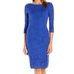 NWT Calvin Klein Blue Slimming Floral Midi Dress